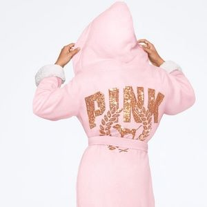 Pink robe with a snuggly hood and comfy cuffs